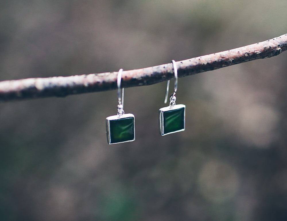 Jade Square Earrings