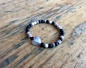 Sterling Silver Heart Bracelet, Faceted Pyrite