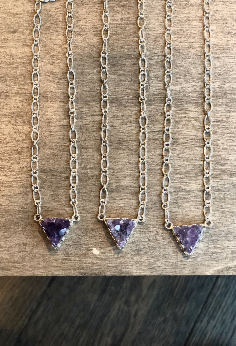 Mini Amethyst Triangle Pendant Necklace