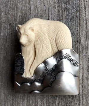 Bear on Snowy Hills Pin/ Pendant