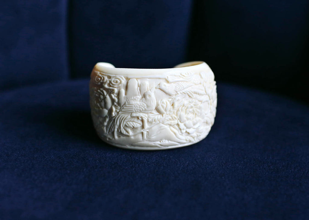 OOAK Mammoth Ivory Kissing Birds with Flowers Cuff