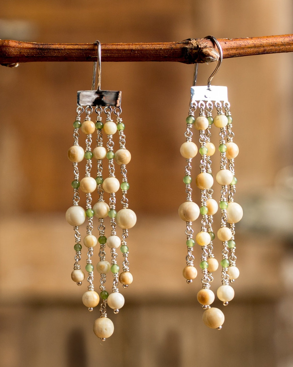 Mammoth & Jade Bubbles Chandelier Earrings