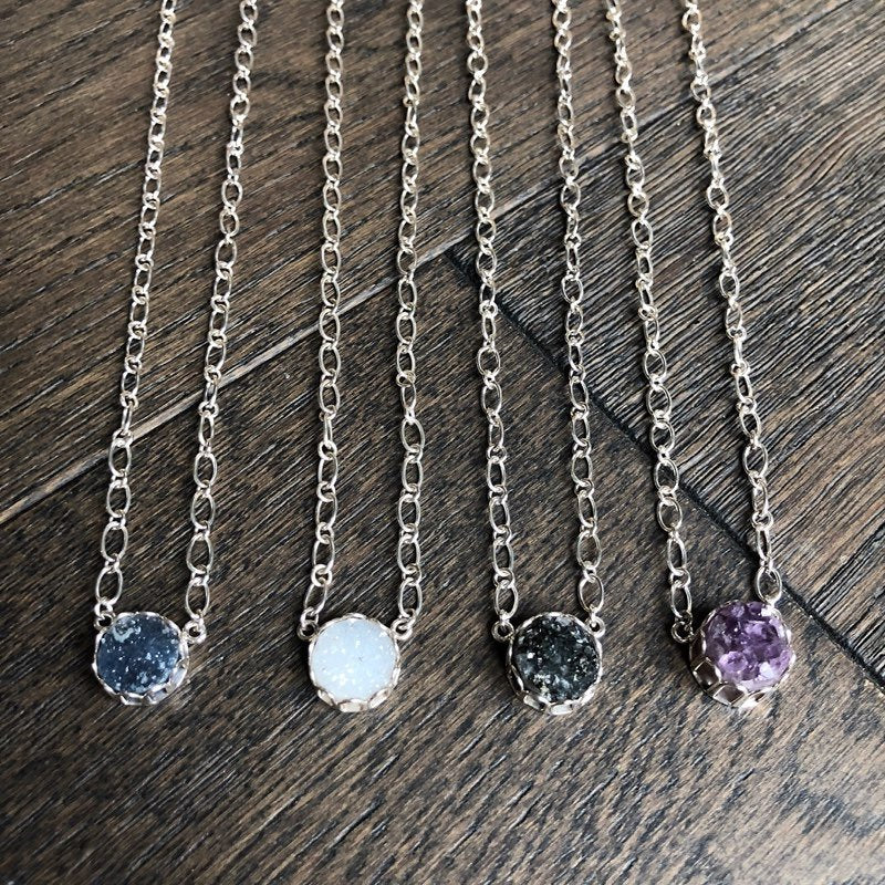 Mini Round Druzy Pendant Necklace