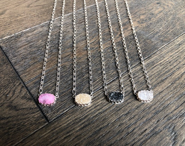 Mini Druzy Oval Pendant Necklace
