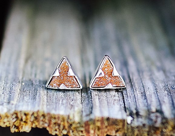 Triangle Druzy Spike Earrings