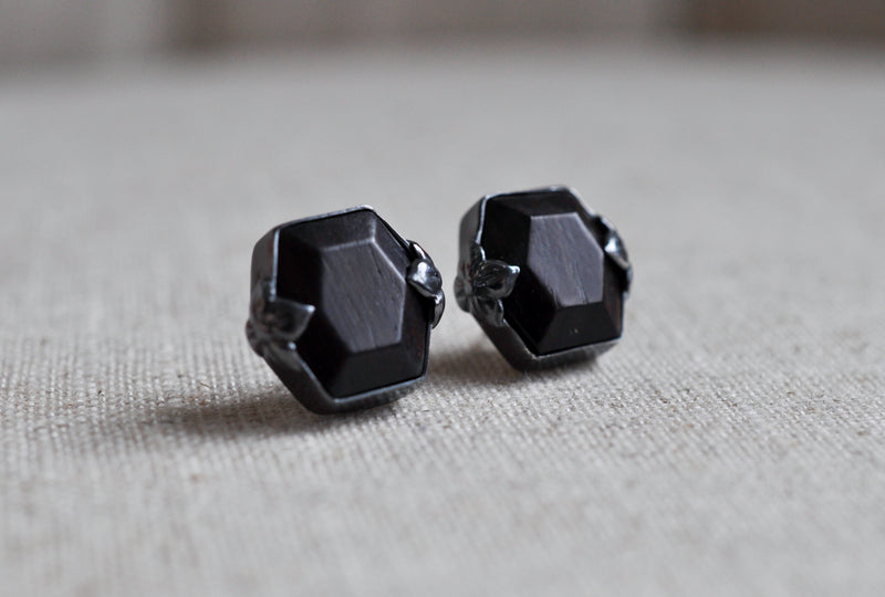LIMITED Faceted Vintage Ebony Wood Cufflinks