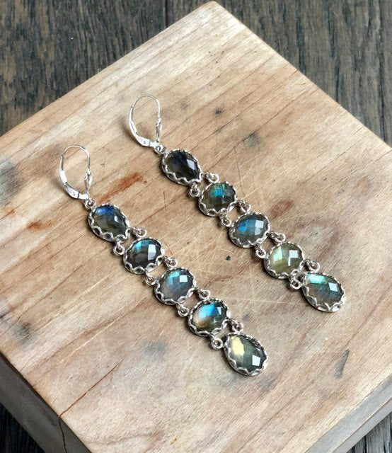 Deco Faceted Labradorite Earrings