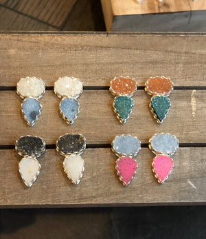 Gatsby Druzy Post Earrings