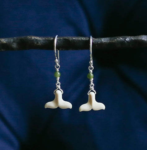 Whale Tail with Jade Earrings