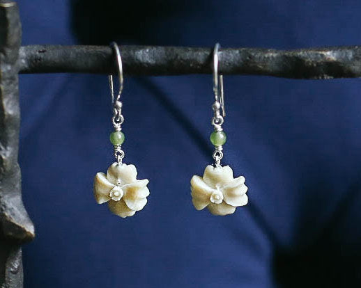 Wild Rose with Jade Earrings