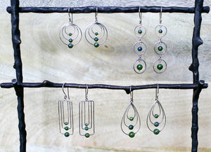 Jade Triple Rectangle Earrings