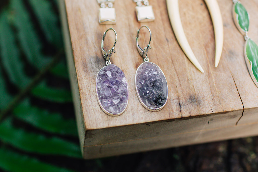 Druzy Oval Earrings