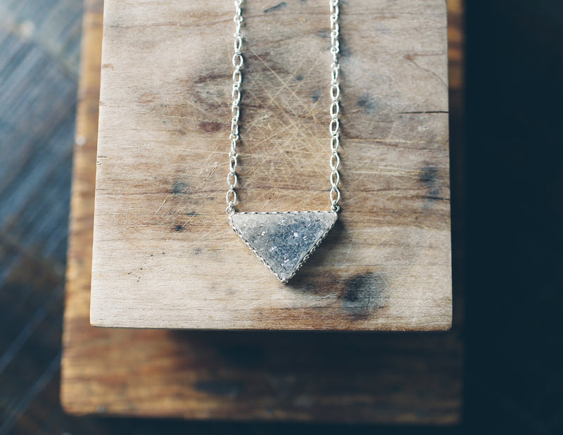 Druzy Inverted Triangle Necklace