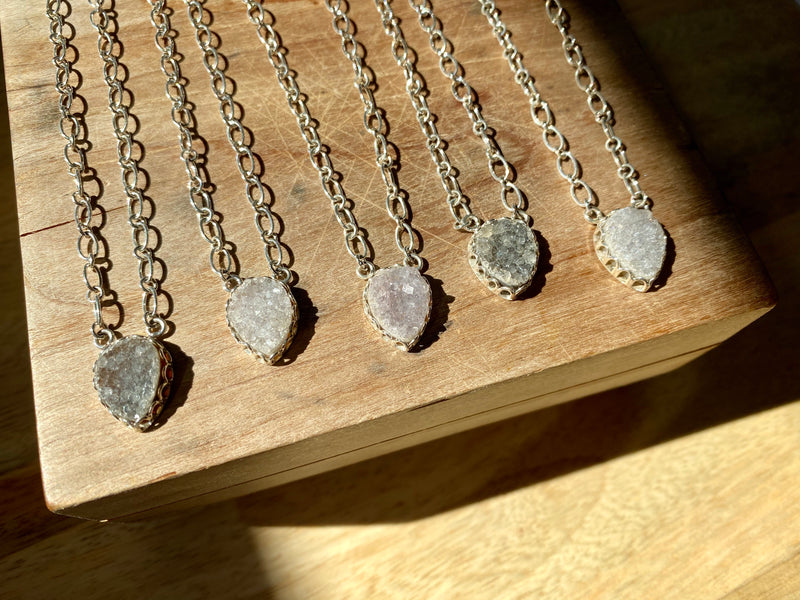 Mini Druzy Drop Pendant Necklace