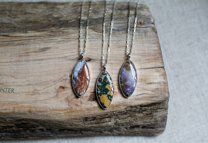 Marquise Jasper Pendant Necklace