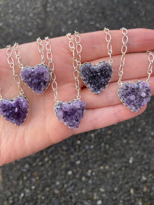Mini Amethyst Heart Necklace