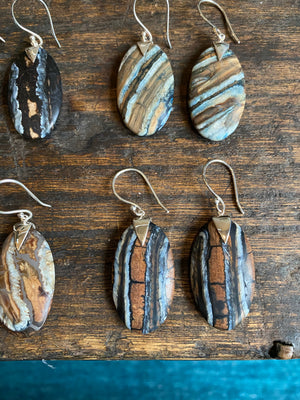 Mammoth Tooth Oval Spike Earrings