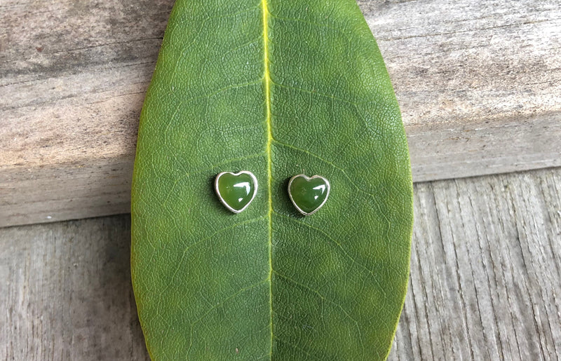 Tiny Jade Heart Earrings