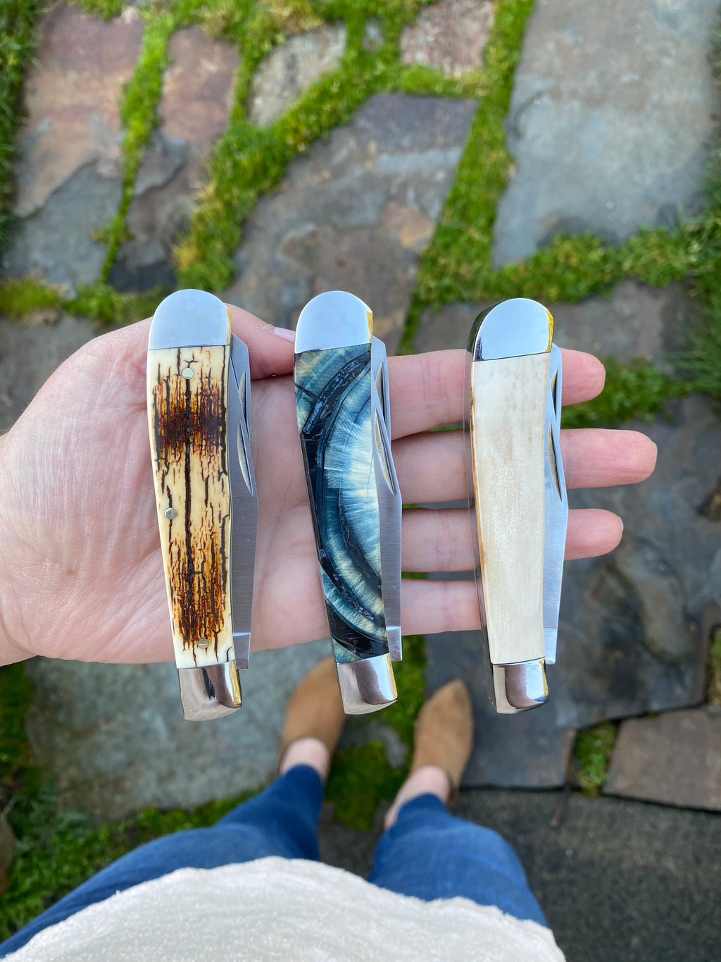 Double Blade Cream Mammoth Ivory Trapper Pocket Knife