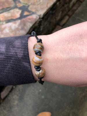 Large Mammoth Tooth + Leather Bracelet