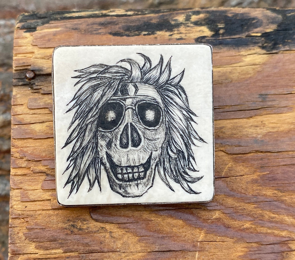 Scrimshaw Skull with Aviators Pin/Pendant