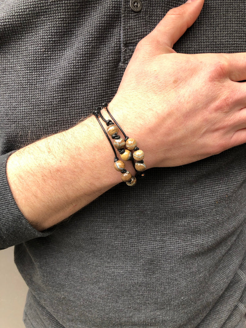 Mammoth Tooth + Leather Bracelet