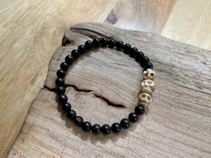 Small Ebony & Mammoth Skulls Bracelet
