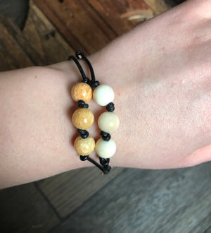 Fossil Walrus Ivory + Leather Bracelet