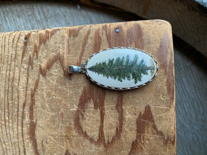 Scrimshaw Oval Evergreen Tree Pendant