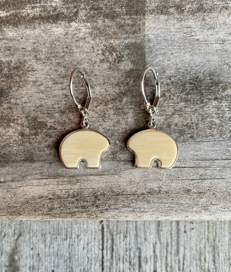 Mammoth Ivory Bear Lever Back Earrings