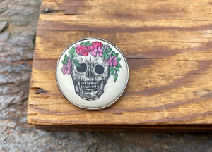 Scrimshaw Round Skull with Floral Crown Pin/ Pendant