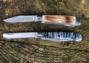 Double Blade Mammoth Tooth Pocket Knife