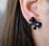 Vintage Ebony Wood Bow Earrings