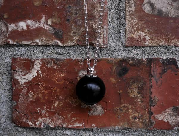Vintage Ebony Wood Lace Pendant Necklace