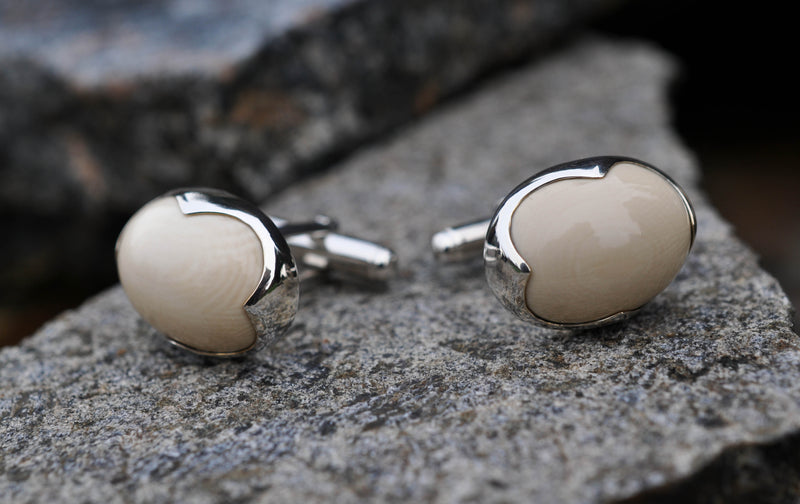 Prehistoric Mammoth Oval Cufflinks
