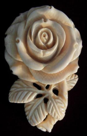 Rose with Leaves Brooch