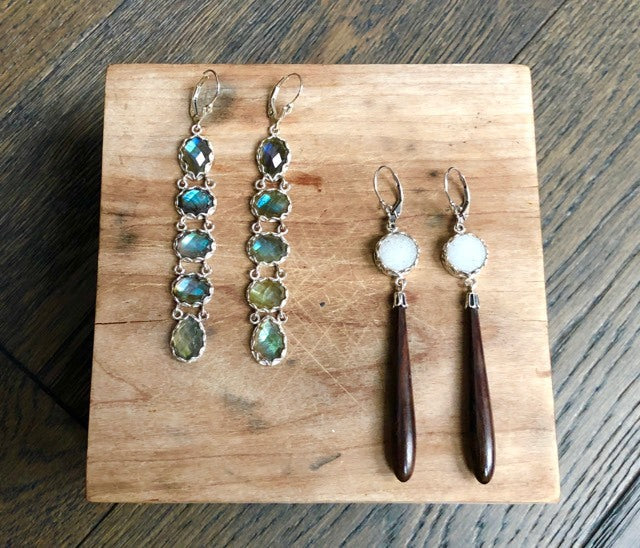 Vintage Ebony Drop and Druzy Earrings