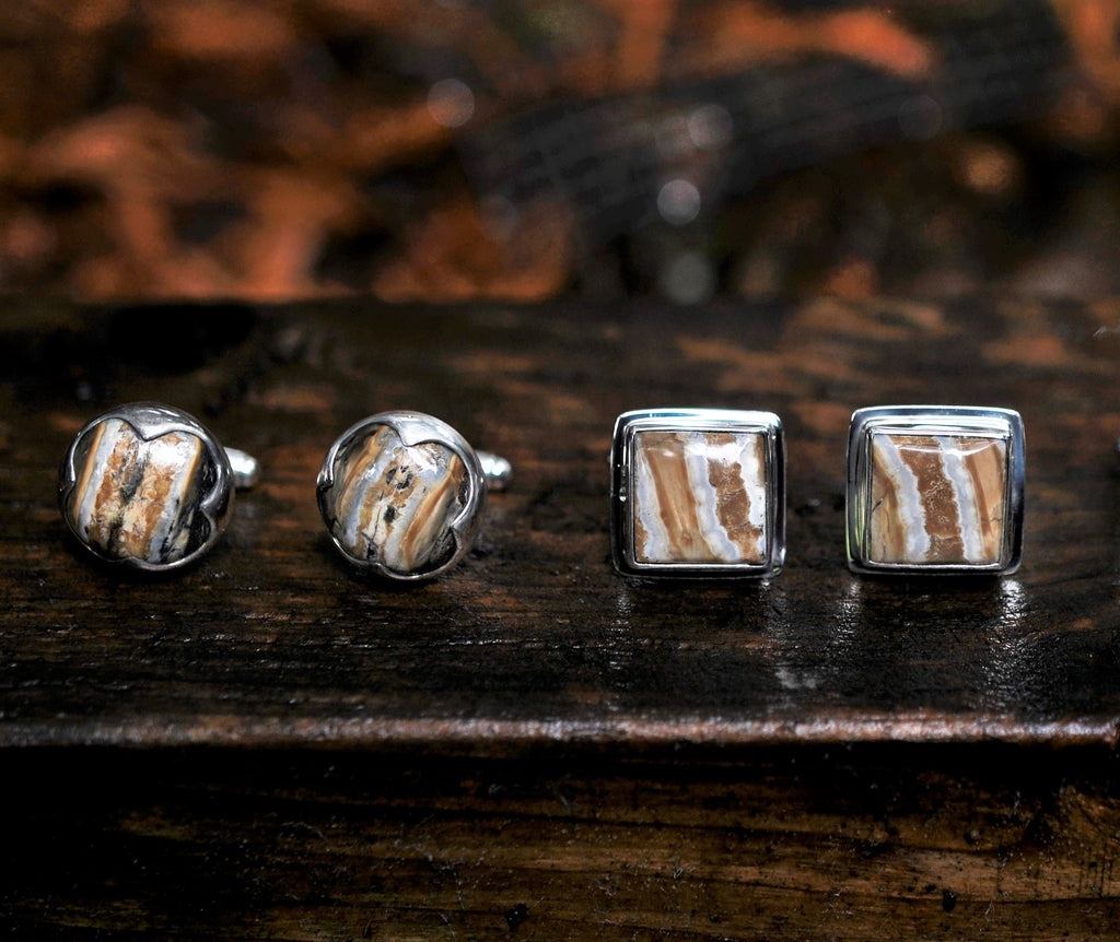 Square Domed Mammoth Tooth Cufflinks