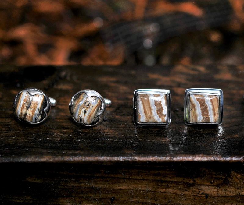 Square, Domed Mammoth Tooth Cufflinks