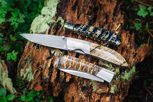 Ursa Whiskey Bravo Mammoth Tooth Damascus Pocket Knife