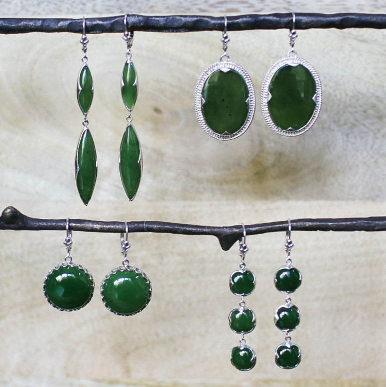 Jade Oval Disc Earrings