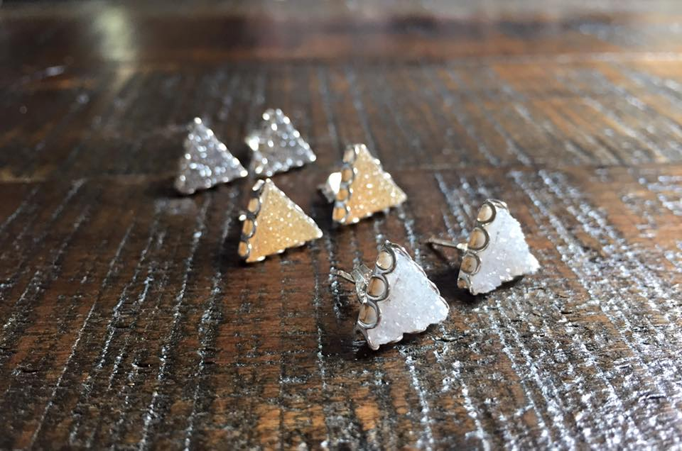 Triangle Druzy Petal Earrings