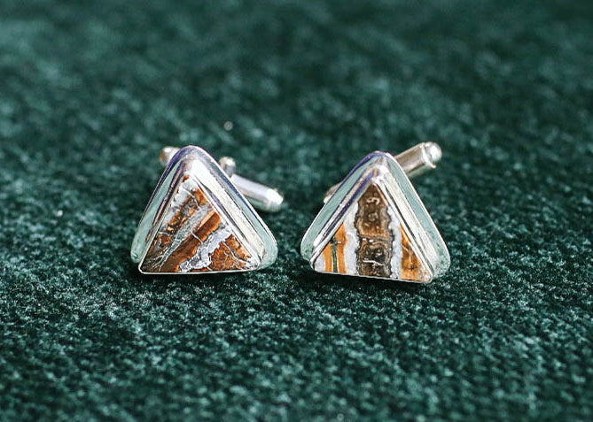 Triangle, Flat Mammoth Tooth Cufflinks