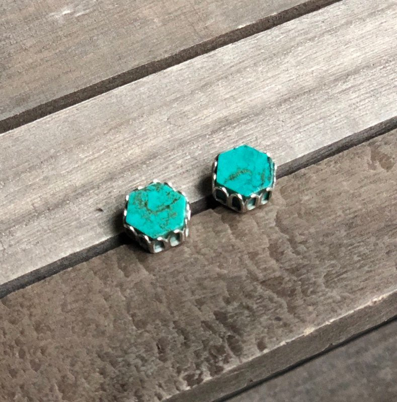 Turquoise Hexagon Post Earrings