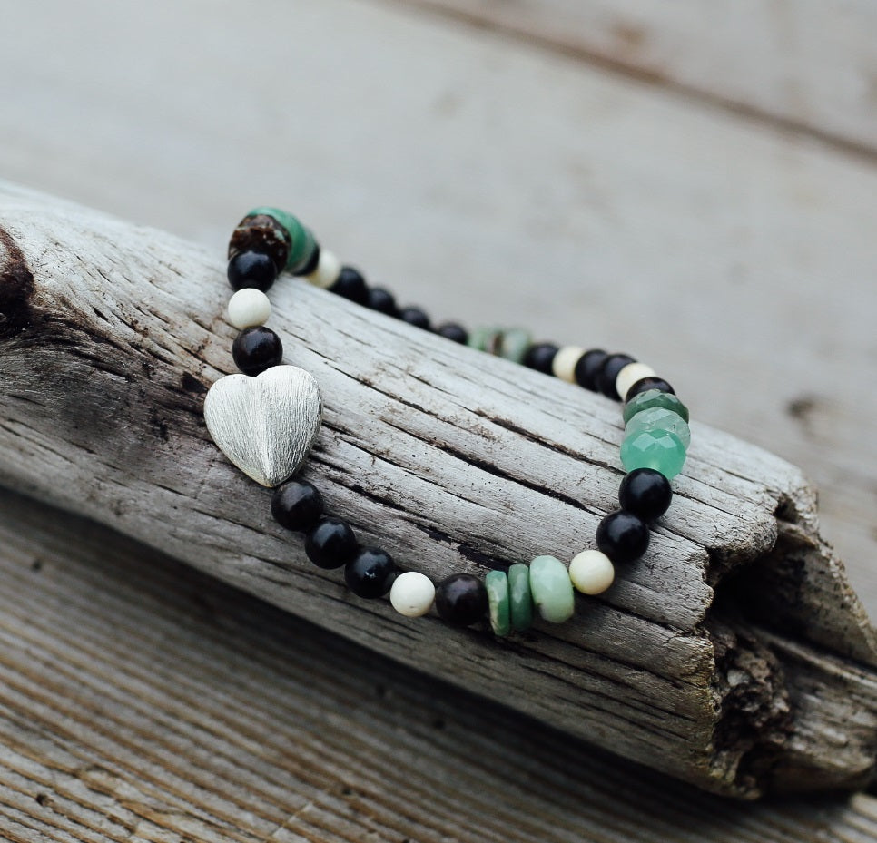 Sterling Silver Heart Bracelet, Green Chrysoprase