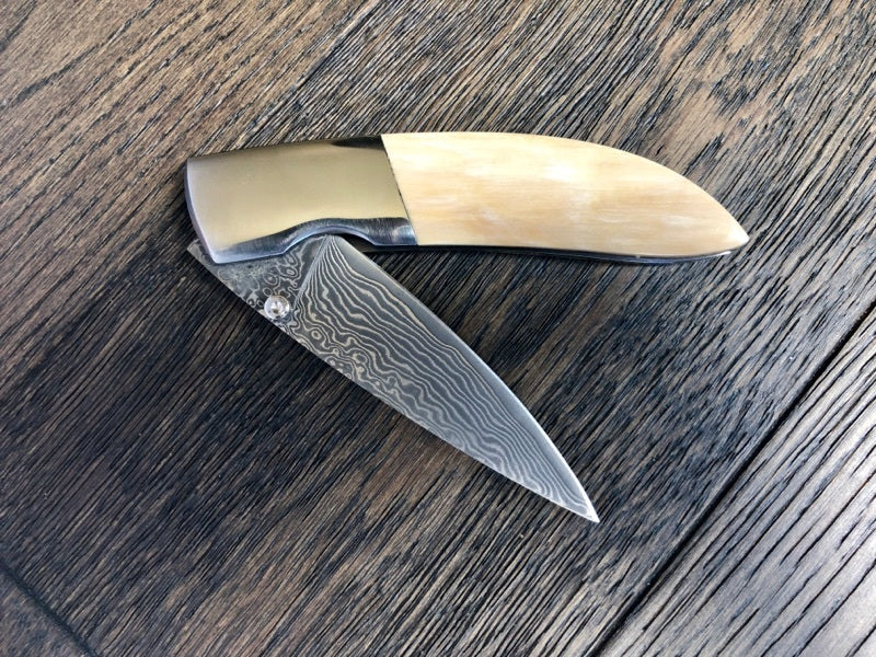 Whisky Bravo by Ursa Mammoth Ivory Damascus Pocket Knife