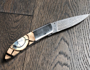Whisky Bravo by Ursa Mammoth Ivory Cross Cut Damascus Pocket Knife