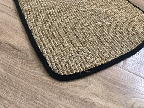 Natural Sisal Split Bus Wheel Arch Mats Fine Weave Fudge With Black Egde Trim