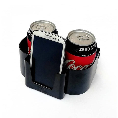 Dual drink and phone holder.