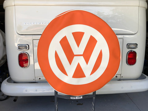 Spare Wheel Cover In Orange With White Logo